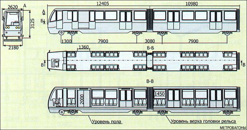 Чертёж поезда мини-метро из